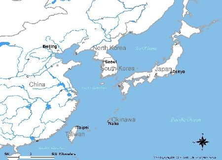Ryuku Islands On A East Asia Map