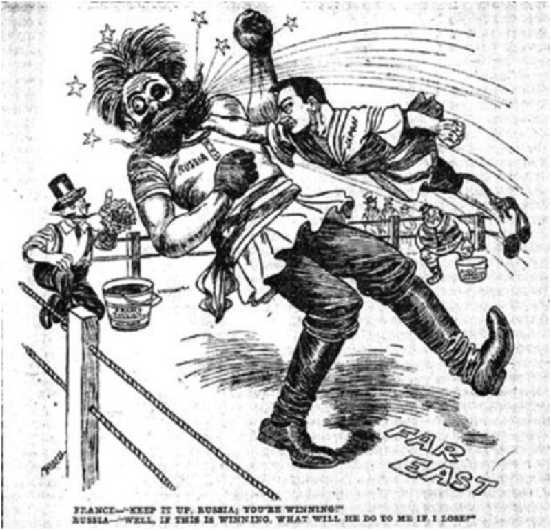 The Russo-Japanese War was closely followed by a globalized media. Depicted in countless cartoons such as this.