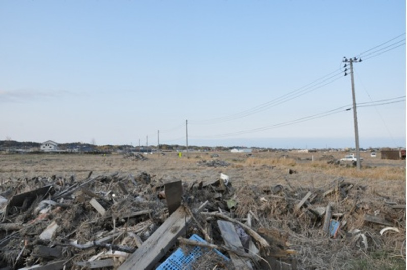 Odaka under mountains of debris one year after the earthquake
