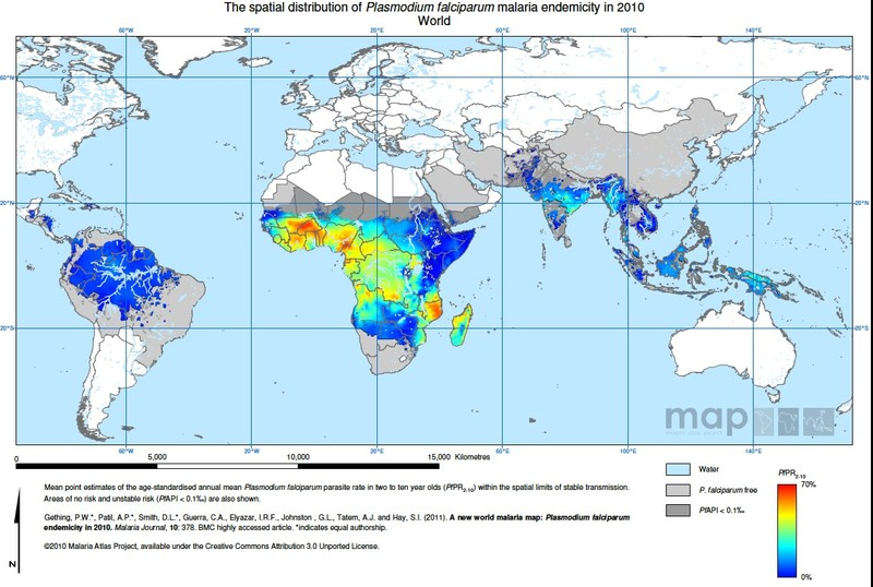 Maps Showing The Distribution Of Malaria Risk Globally For Plasmodium Falrum Top And Plasmodium Vivax Bottom See Color Keys In Figure 3