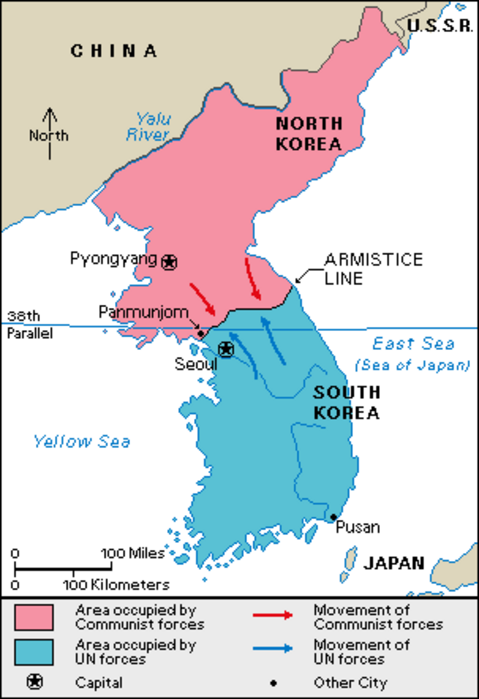 Map Shows Division Of Korea At 1953 Armistice That Remains In Effect Today