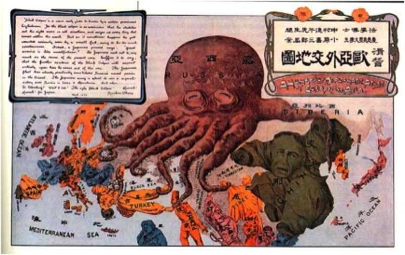 "A Japanese propaganda map depicting Russia as the ""black octopus"""
