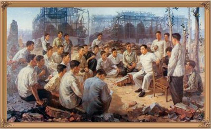Kim Il Sung with construction workers, 1953