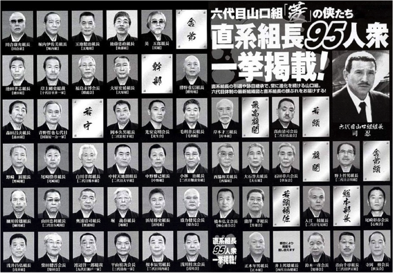 Bosses of some major Yamaguchi-gumi gangs.