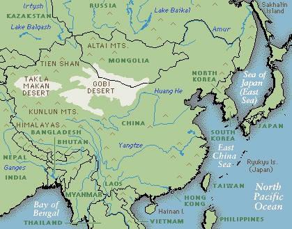 Mongolian plateau world map