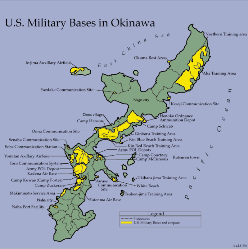 US Military Defoliants On Okinawa Agent Orange Japanese - Map us milittary bases opened