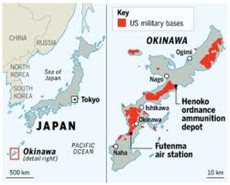 Who Should Bear The Burden Of US Bases Governor Nakaimas Plea - Us military bases in okinawa map