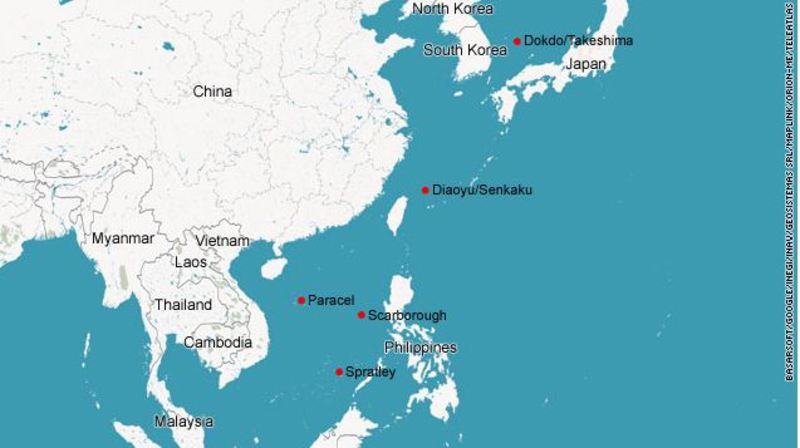China japan territorial conflicts and the us japan china relations map showing contested islands gumiabroncs Choice Image