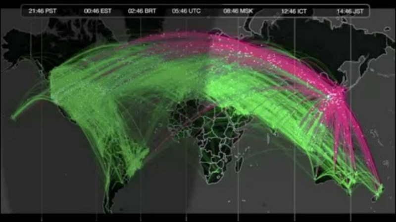 Figure 2. The pink are original tweets, the green are retweets, demonstrating the huge flows of information in the immediate hours after the earthquake and tsunami (Twitter, 2011). Click here for an animated visualization of Twitter information flow: http://www.flickr.com/photos/twitteroffice/5884626815/in/photostream/