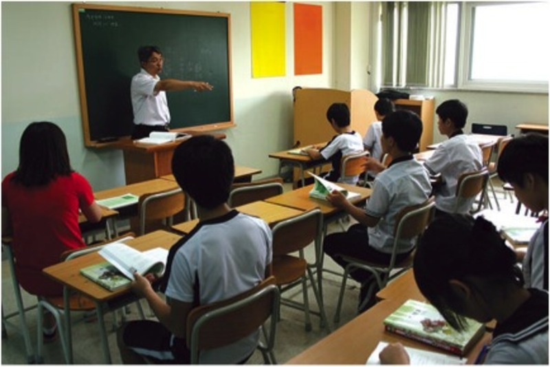 Teens and young adults from North Korea attend class at Hangyeore school in Anseong, 2010