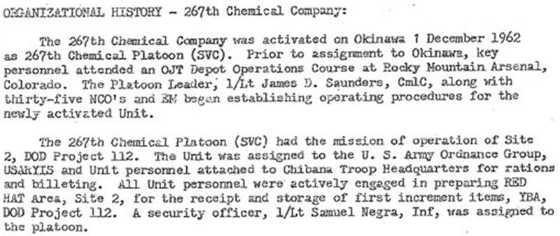 Proof of Project 112 on Okinawa   An excerpt from the history of the 267th  Chemical Platoon. 9e06a0359