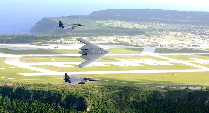 B 2s And F 15 Fly Over Andersen Air Force Base