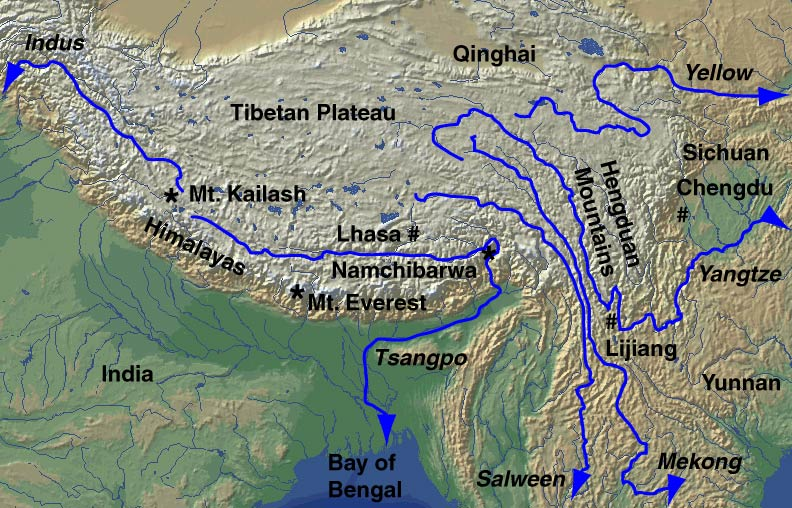 Plateau Of Tibet On Map Of Asia.China India Clash Over Chinese Claims To Tibetan Water The Asia